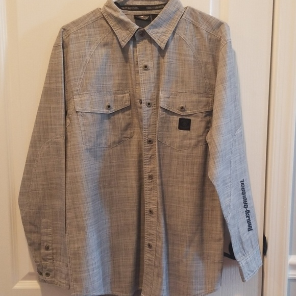 Harley-Davidson Other - H-D Light weight Long sleeve button up gray/blk